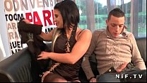 Dark haired french babe with shaved pussy anal ...