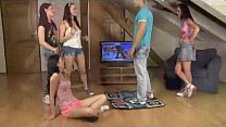 cfnm teens play dance game and fuck their roommate