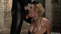 Bound busty MILF in latex fucked