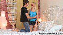 Cute little blonde Shelly gets her pussy well f...