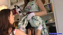 Posh british cougar and teen playful fun