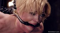 Strapped big tits Milf gets body clamps