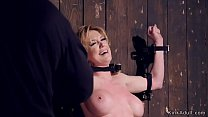 Strapped big tits Milf gets body clamps Image