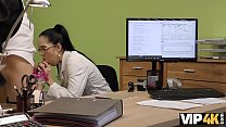 VIP4K. Hot Elis with glasses gives her pussy for drilling to the loan agent