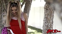Lusty Cheerleader Moka Mora is taken on a spin with big dick