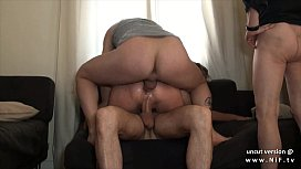 Small titted squirt french slut hard double penetrated in a gangbang