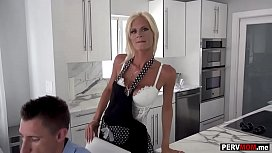 Skinny stepmom blowjob during breakfast in front of dad