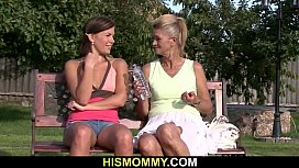 Naughty granny toying her son'_s GF
