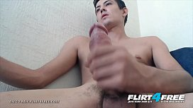 Diego Reif - Flirt4Free - Latino Twink Jerks Off His Big Cock Up Close