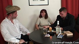 Strip poker leads to threesome with hairy granny