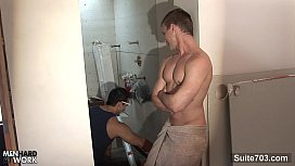 Sexy gay worker getting...