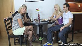 Dinner leads to family threesome