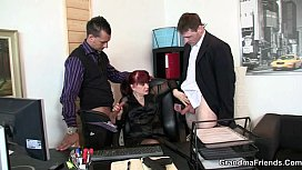 Office bitch swallows two...