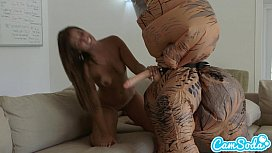 big ass latina teen chased by lesbian loving TREX on a hoverboard then fucked preview