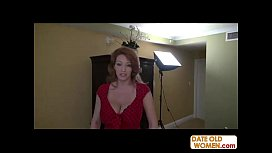 Redhead GILF gives blowjob and titsjob