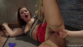 Hairy pussy lesbian gets ass whipped