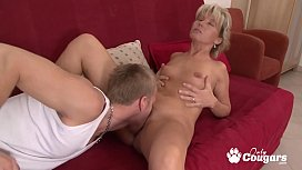 Horny Mom Takes Off Her Thong &amp_ Fills Her Hairy Pussy With Dong