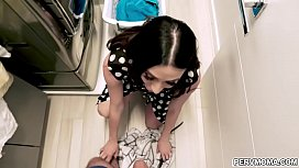 Hot stepmom Ariella Ferrera was mad at her stepson.He knows know to calm her down by fucking her mature pussy while doing the laundry.