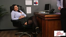 Office babe instructs sub colleague to wank xnxx image