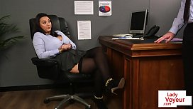 Office babe instructs sub...