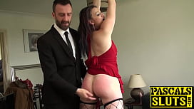 Sub Welsh Rebel face fucking and dick riding like cowgirl