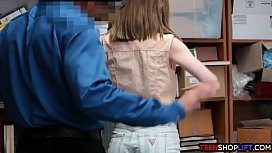 Crazy teen caught shoplifting...