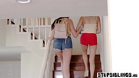 Wild nasty stepsister teens sucked his fat dick again
