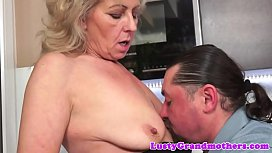 Hairy granny doggystyled by younger dick