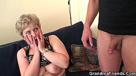 Hot grandma warms up...