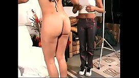 Hot black girl bends her knees open and guy licks on her wet pussy