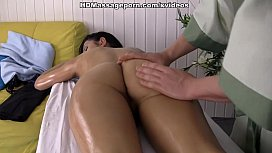 Man oiling, massaging and...