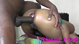 teen  girl whit  plug in asshole and big black dick deep inside pussy and she love it