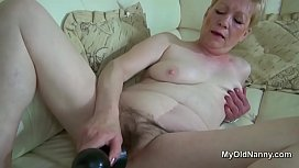 Fat hairy grandma dildo fucks herself