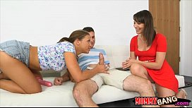 Hot stepmom and teen girl nasty 3some session on sofa