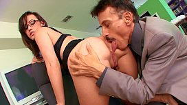 Lucky mature older dude gets to fuck perfect young brunette Jennifer White with huge tits