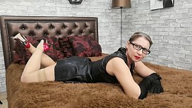 Barbaradream - Blonde teases you in black leather dress and masturbation and cum.