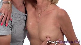Dick sucking old blonde grandma