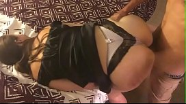 T&A 319 - White Girl in Black & White Satin Lingerie