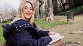 Blonde in pantyhose fucks in public pov