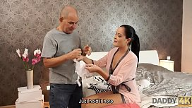 DADDY4K. Remarkable Dolly Diore demonstrates sexy lingerie to old man
