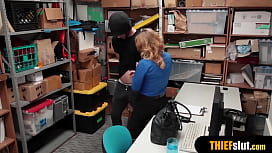 Hot blonde MILF female security guard fuck a thief guy