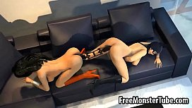 3D lesbian Wonder Woman getting licked and toyed