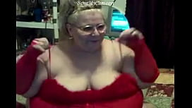 sexy fat mature moman make you hard with her red sexy lingerie
