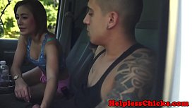 Dominated teen squirting and jizzed in mouth
