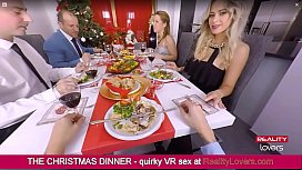Blowjob under the table on Christmas in VR with beautiful blonde