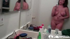 MILF with big tits naked in her bathroom