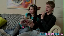 Teen gets hole creampied...