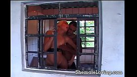 Shemale gets fucked in...
