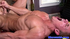 Ripped hunk jerks his cock while assfucked