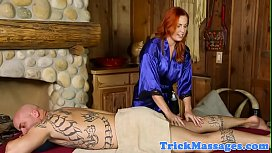 Ginger masseuse babe cocksucking inked client